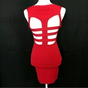 Forever 21 Dresses - 🔴Forever21 Red Bodycon Party Dress Open Back Mini